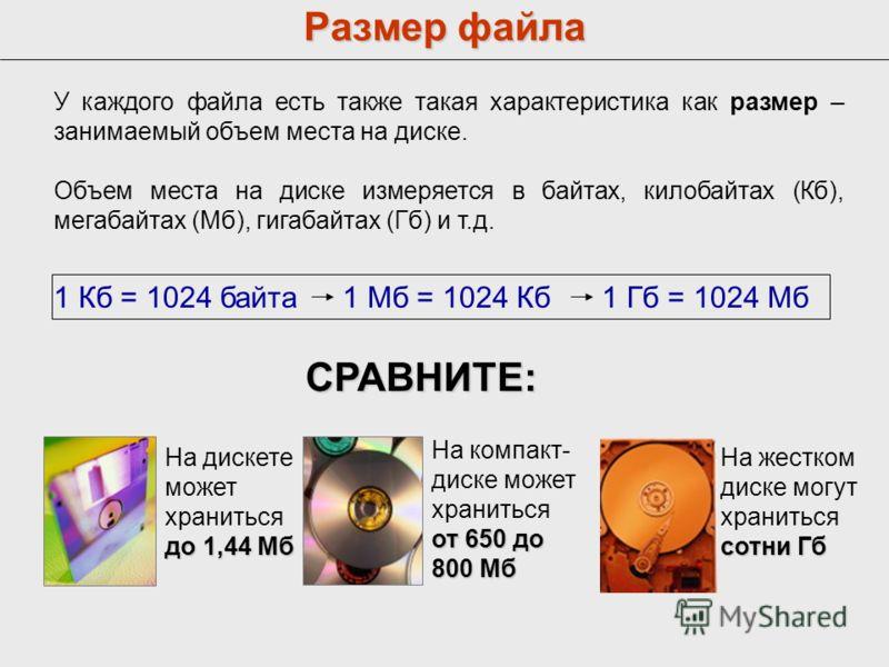 Размер файла У каждого файла есть также такая характеристика как размер – занимаемый объем места на диске. Объем места на диске измеряется в байтах, килобайтах (Кб), мегабайтах (Мб), гигабайтах (Гб) и т.д. СРАВНИТЕ: до 1,44 Мб На дискете может хранит