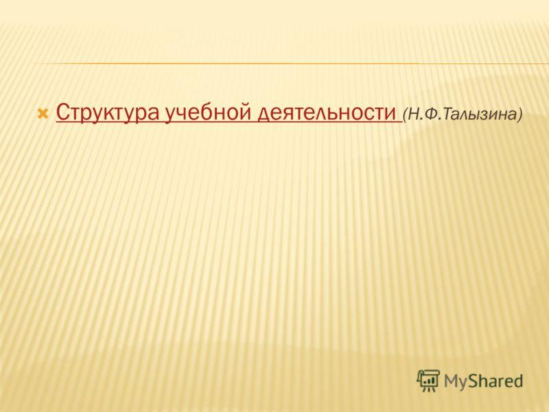Структура учебной деятельности (Н.Ф.Талызина) Структура учебной деятельности