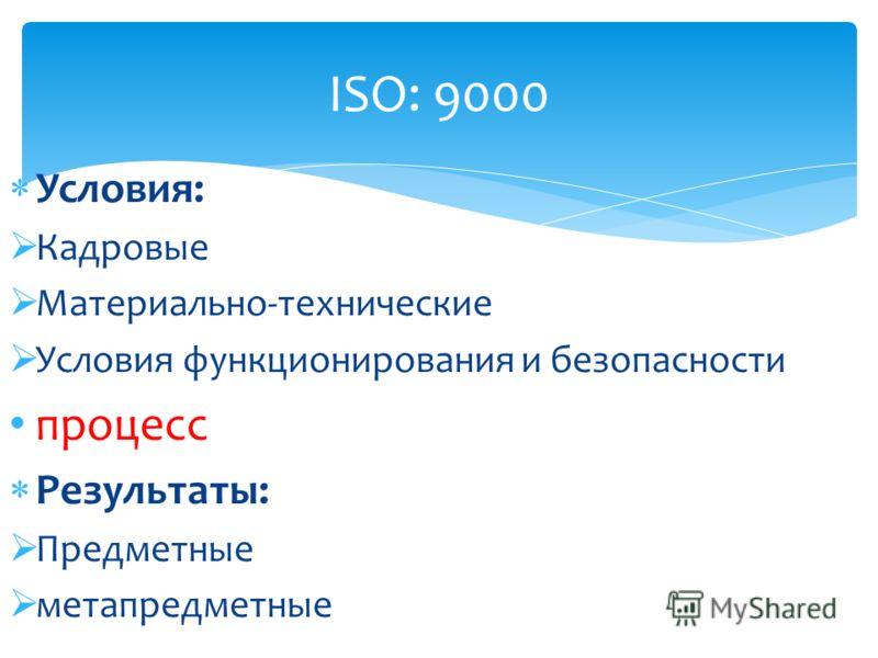 Условия: Кадровые Материально-технические Условия функционирования и безопасности процесс Результаты: Предметные метапредметные ISO: 9000