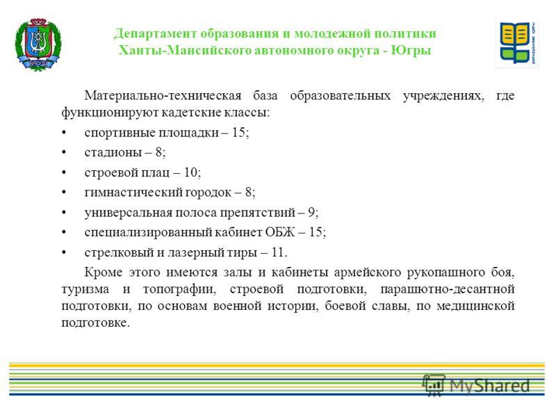 Департамент образования и молодежной политики Ханты-Мансийского автономного округа - Югры Материально-техническая база образовательных учреждениях, где функционируют кадетские классы: спортивные площадки – 15; стадионы – 8; строевой плац – 10; гимнас