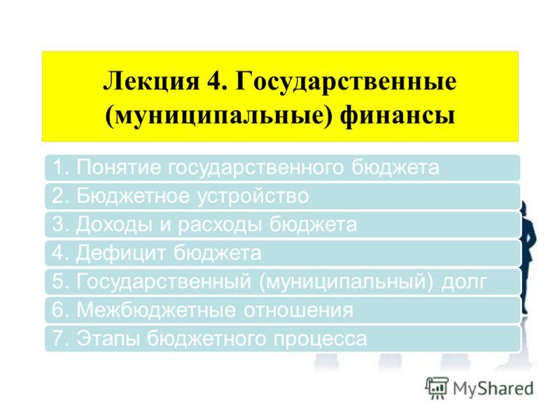 Лекция 4. Государственные (муниципальные) финансы 1. Понятие государственного бюджета2. Бюджетное устройство3. Доходы и расходы бюджета4. Дефицит бюджета5. Государственный (муниципальный) долг6. Межбюджетные отношения7. Этапы бюджетного процесса