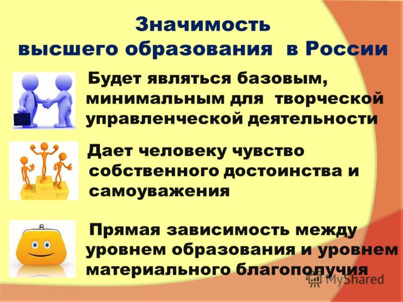 Значимость высшего образования в России Будет являться базовым, минимальным для творческой управленческой деятельности Дает человеку чувство собственного достоинства и самоуважения Прямая зависимость между уровнем образования и уровнем материального