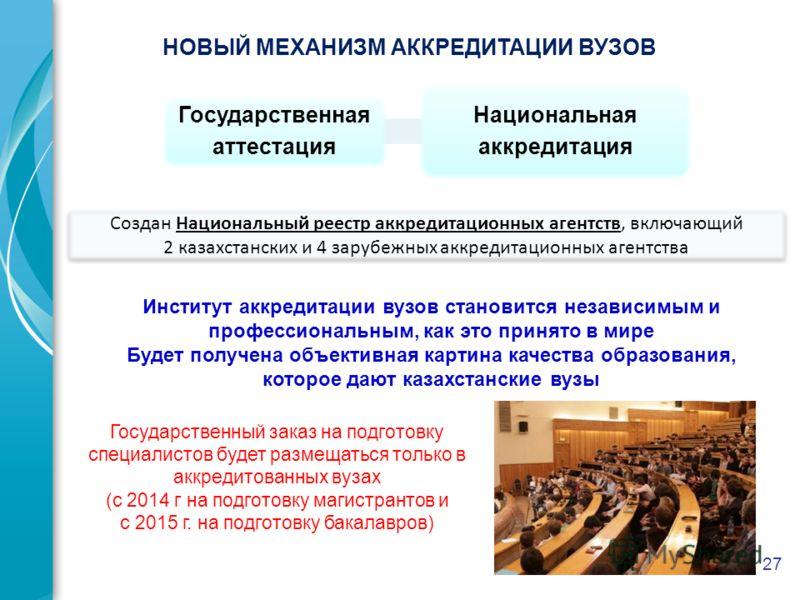 27 Создан Национальный реестр аккредитационных агентств, включающий 2 казахстанских и 4 зарубежных аккредитационных агентства Государственная аттестация Национальная аккредитация НОВЫЙ МЕХАНИЗМ АККРЕДИТАЦИИ ВУЗОВ Институт аккредитации вузов становитс