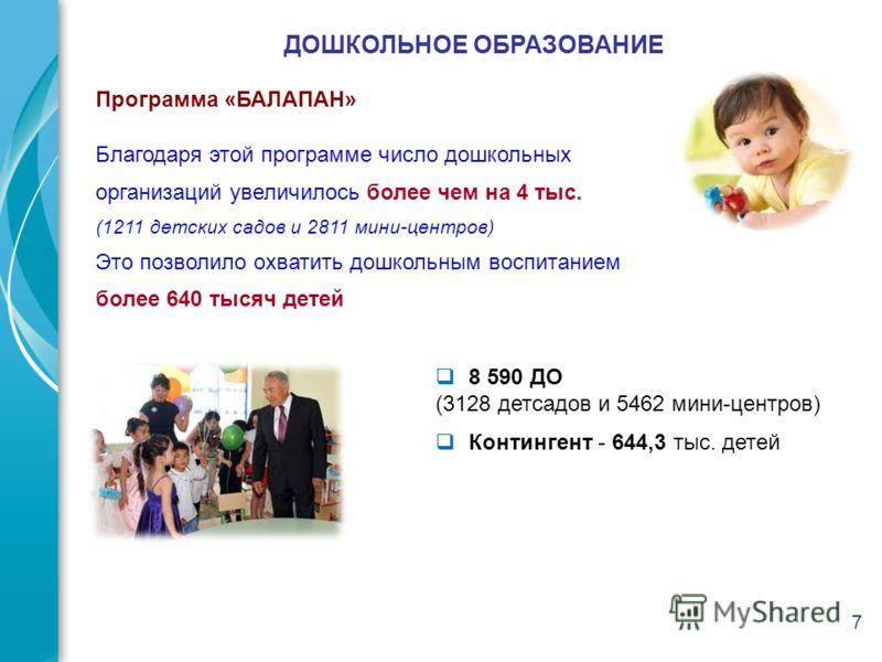 7 ДОШКОЛЬНОЕ ОБРАЗОВАНИЕ Программа «БАЛАПАН» 8 590 ДО (3128 детсадов и 5462 мини-центров) Контингент - 644,3 тыс. детей Благодаря этой программе число дошкольных организаций увеличилось более чем на 4 тыс. (1211 детских садов и 2811 мини-центров) Это