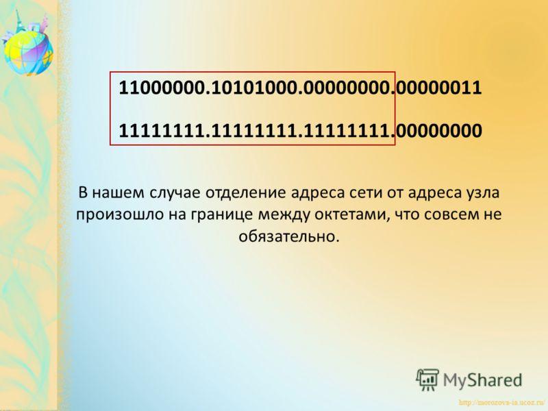 11000000.10101000.00000000.00000011 11111111.11111111.11111111.00000000 В нашем случае отделение адреса сети от адреса узла произошло на границе между октетами, что совсем не обязательно.