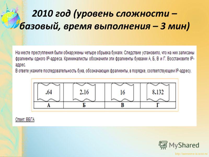 2010 год (уровень сложности – базовый, время выполнения – 3 мин)