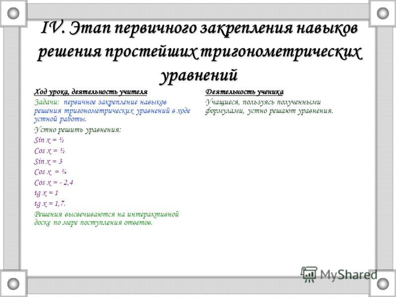 IV. Этап первичного закрепления навыков решения простейших тригонометрических уравнений Ход урока, деятельность учителя Задачи: первичное закрепление навыков решения тригонометрических уравнений в ходе устной работы. Устно решить уравнения: Sin x = ½