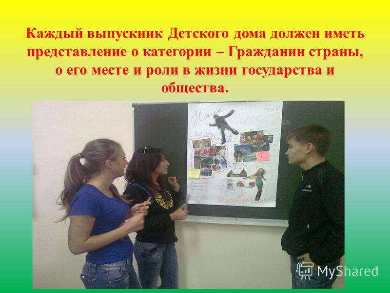 Каждый выпускник Детского дома должен иметь представление о категории – Гражданин страны, о его месте и роли в жизни государства и общества.