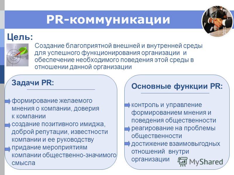 PR-коммуникации Цель: Создание благоприятной внешней и внутренней среды для успешного функционирования организации и обеспечение необходимого поведения этой среды в отношении данной организации Задачи PR: формирование желаемого мнения о компании, дов