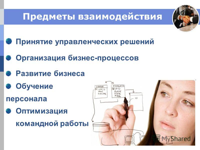 Предметы взаимодействия Принятие управленческих решений Организация бизнес-процессов Развитие бизнеса Обучение персонала Оптимизация командной работы