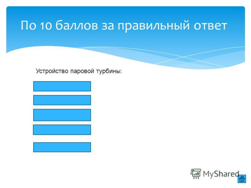 По 10 баллов за правильный ответ Устройство паровой турбины: 1.Сопла 2.Лопатки 3.Котел 4.Диск 5.вал