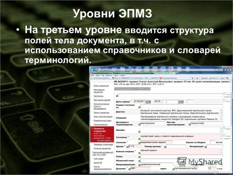 Уровни ЭПМЗ На третьем уровне вводится структура полей тела документа, в т.ч. с использованием справочников и словарей терминологий.