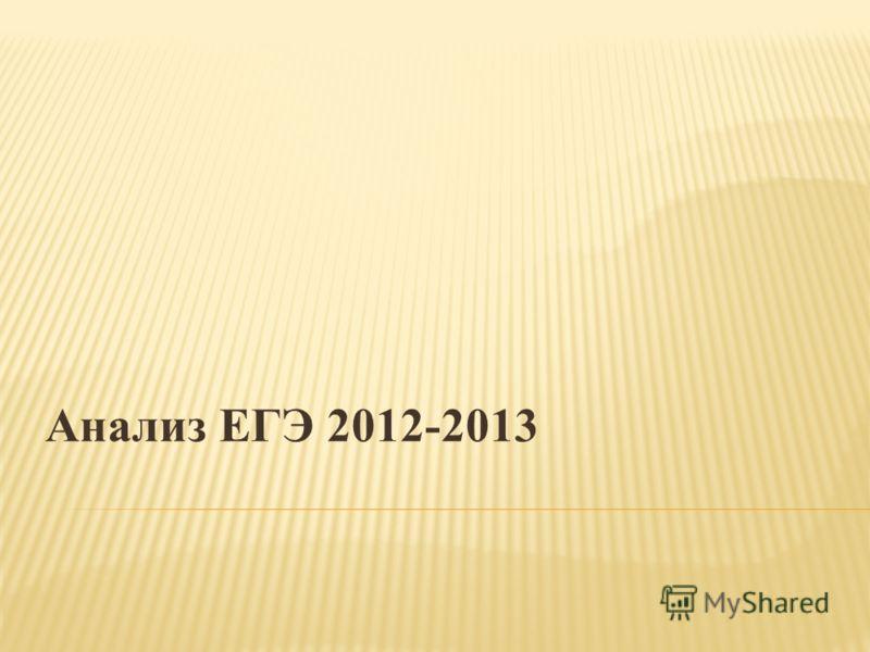 Анализ ЕГЭ 2012-2013
