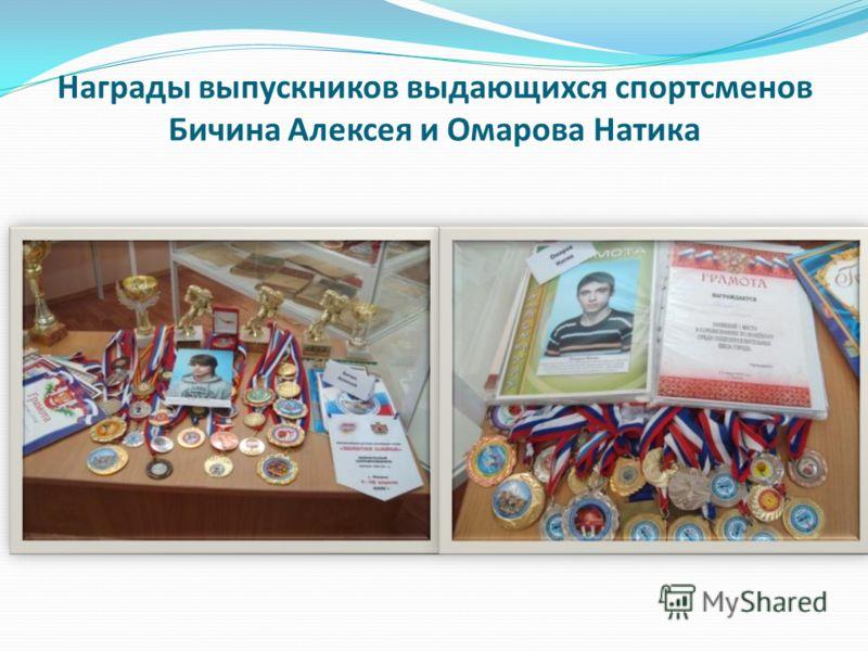 Награды выпускников выдающихся спортсменов Бичина Алексея и Омарова Натика