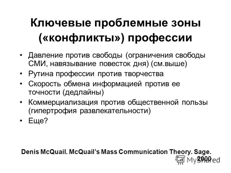 Ключевые проблемные зоны («конфликты») профессии Давление против свободы (ограничения свободы СМИ, навязывание повесток дня) (см.выше) Рутина профессии против творчества Скорость обмена информацией против ее точности (дедлайны) Коммерциализация проти