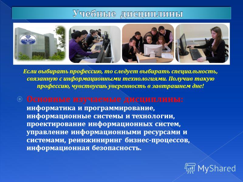 Основные изучаемые дисциплины: информатика и программирование, информационные системы и технологии, проектирование информационных систем, управление информационными ресурсами и системами, реинжиниринг бизнес-процессов, информационная безопасность. Ес