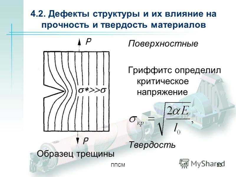 ППСМ33 4.2. Дефекты структуры и их влияние на прочность и твердость материалов Поверхностные Гриффитс определил критическое напряжение Твердость Образец трещины