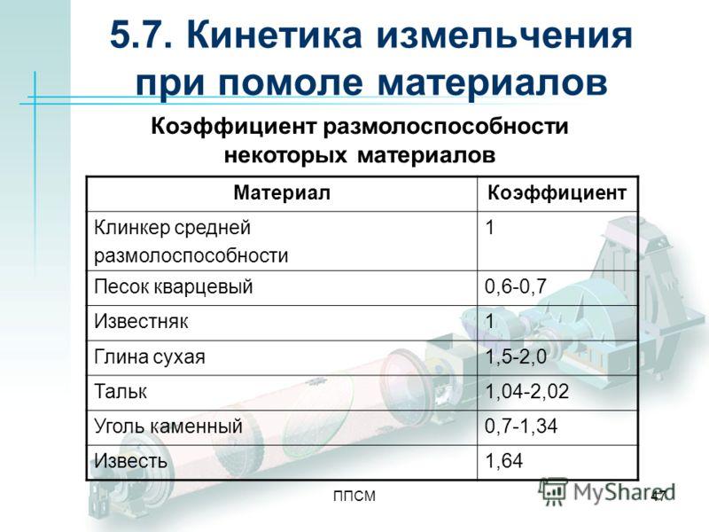 ППСМ47 5.7. Кинетика измельчения при помоле материалов МатериалКоэффициент Клинкер средней размолоспособности 1 Песок кварцевый0,6-0,7 Известняк1 Глина сухая1,5-2,0 Тальк1,04-2,02 Уголь каменный0,7-1,34 Известь1,64 Коэффициент размолоспособности неко