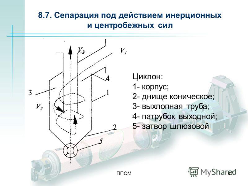 ППСМ97 8.7. Сепарация под действием инерционных и центробежных сил Циклон: 1- корпус; 2- днище коническое; 3- выхлопная труба; 4- патрубок выходной; 5- затвор шлюзовой