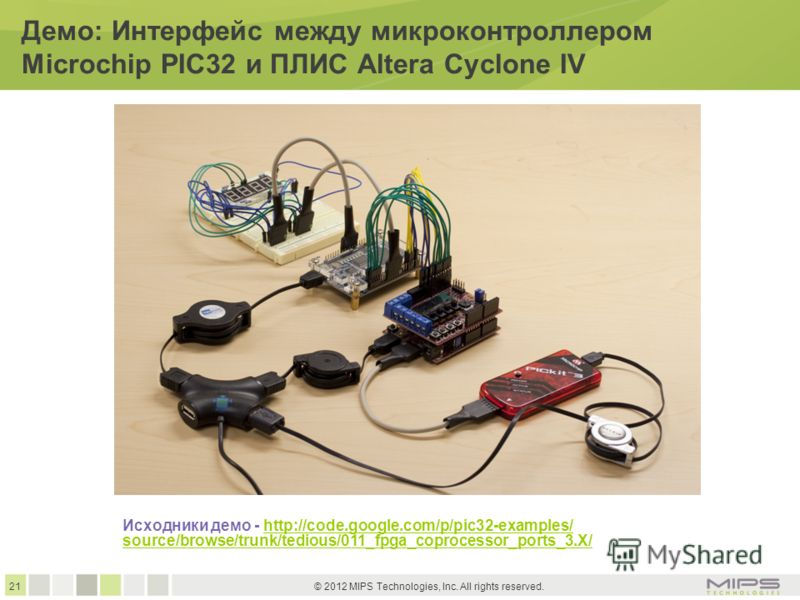 21 © 2012 MIPS Technologies, Inc. All rights reserved. Демо: Интерфейс между микроконтроллером Microchip PIC32 и ПЛИС Altera Cyclone IV Исходники демо - http://code.google.com/p/pic32-examples/http://code.google.com/p/pic32-examples/ source/browse/tr