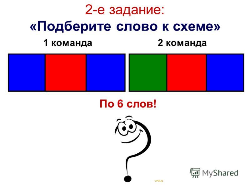2-е задание: «Подберите слово к схеме» 1 команда2 команда По 6 слов!