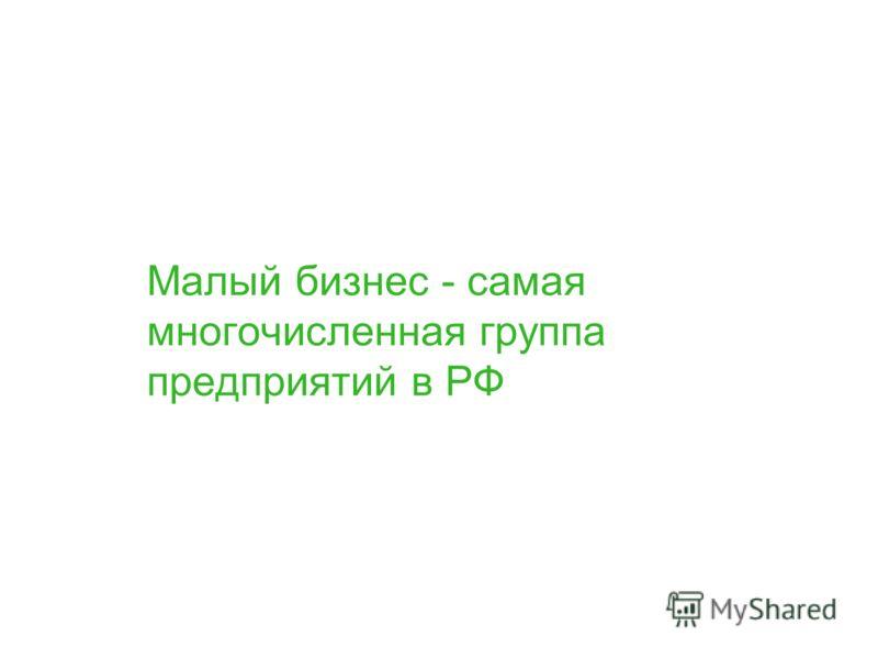 Малый бизнес - самая многочисленная группа предприятий в РФ