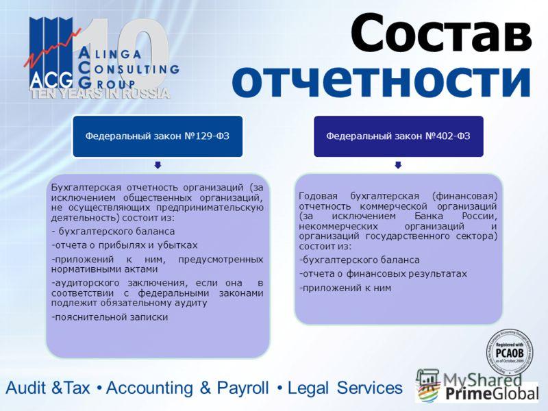 Состав отчетности Audit &Tax Accounting & Payroll Legal Services Федеральный закон 129-ФЗ Бухгалтерская отчетность организаций (за исключением общественных организаций, не осуществляющих предпринимательскую деятельность) состоит из: - бухгалтерского