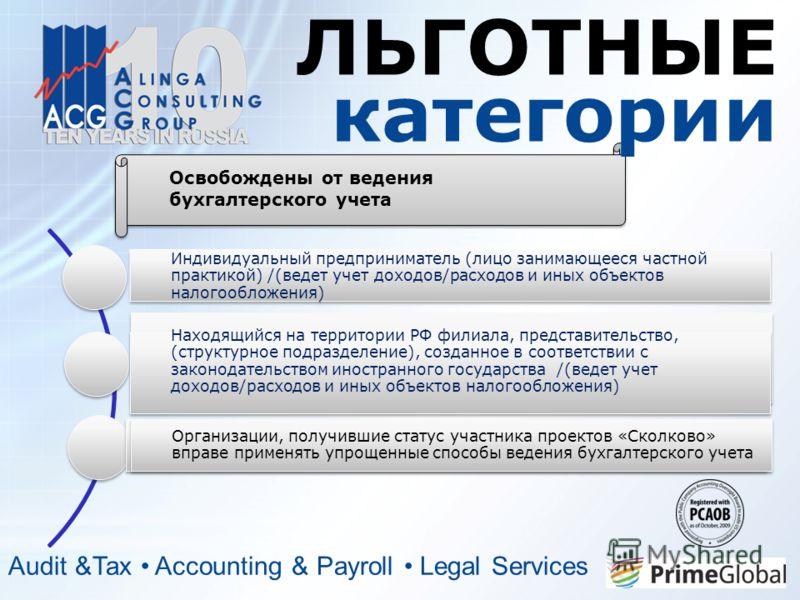 ЛЬГОТНЫЕ категории Audit &Tax Accounting & Payroll Legal Services Освобождены от ведения бухгалтерского учета Индивидуальный предприниматель (лицо занимающееся частной практикой) /(ведет учет доходов/расходов и иных объектов налогообложения) Находящи