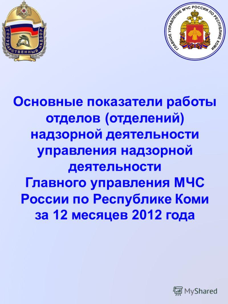 Основные показатели работы отделов (отделений) надзорной деятельности управления надзорной деятельности Главного управления МЧС России по Республике Коми за 12 месяцев 2012 года
