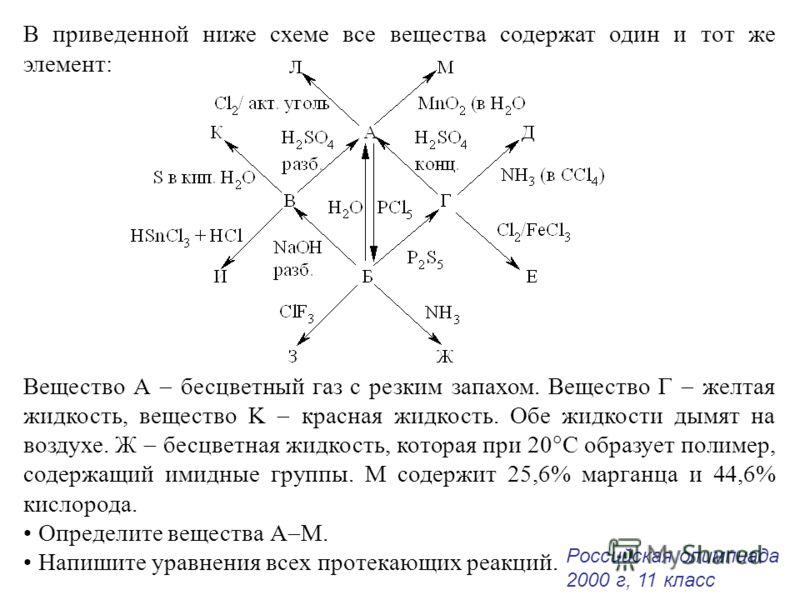 В приведенной ниже схеме все вещества содержат один и тот же элемент: Вещество А бесцветный газ с резким запахом. Вещество Г желтая жидкость, вещество K красная жидкость. Обе жидкости дымят на воздухе. Ж бесцветная жидкость, которая при 20 С образует