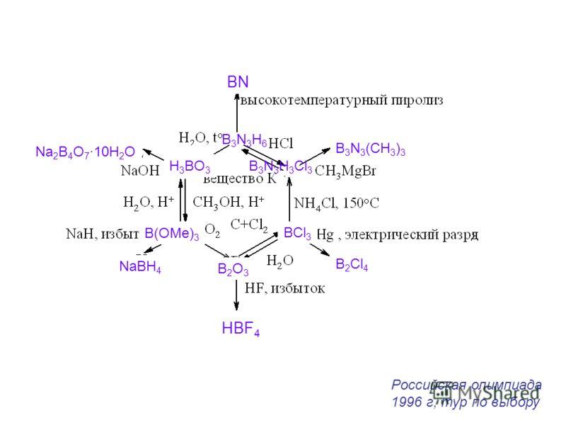 BN HBF 4 B3N3H6B3N3H6 B 3 N 3 H 3 Cl 3 B 3 N 3 (CH 3 ) 3 BCl 3 B2O3B2O3 B(OMe) 3 H 3 BO 3 B 2 Cl 4 NaBH 4 Na 2 B 4 O 7 ·10H 2 O Российская олимпиада 1996 г, тур по выбору