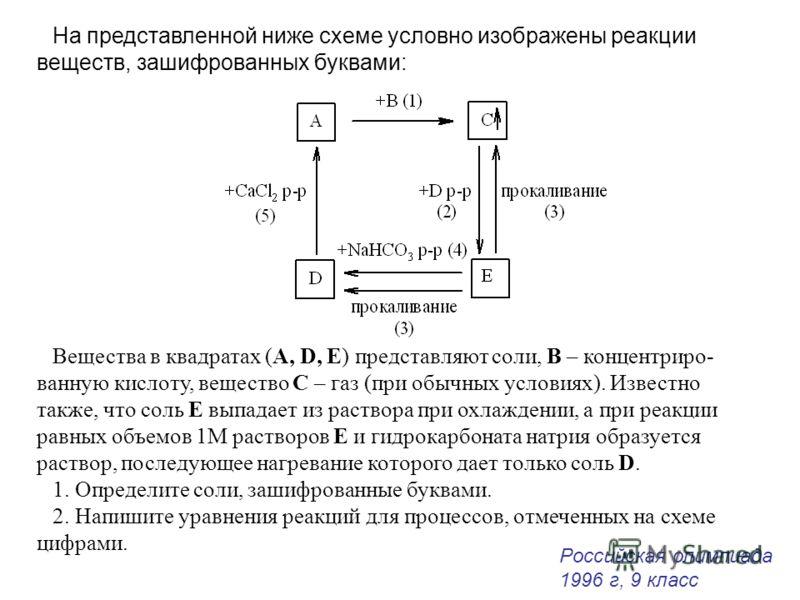 На представленной ниже схеме условно изображены реакции веществ, зашифрованных буквами: Вещества в квадратах (A, D, E) представляют соли, В – концентриро- ванную кислоту, вещество С – газ (при обычных условиях). Известно также, что соль Е выпадает из