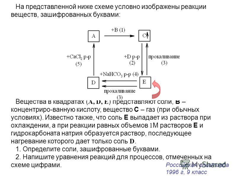 На представленной ниже схеме условно изображены реакции веществ, зашифрованных буквами: Вещества в квадратах ( A, D, E ) представляют соли, В – концентриро-ванную кислоту, вещество С – газ (при обычных условиях). Известно также, что соль Е выпадает и