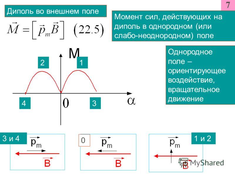 7 Диполь во внешнем поле Момент сил, действующих на диполь в однородном (или слабо-неоднородном) поле Однородное поле – ориентирующее воздействие, вращательное движение 12 34 3 и 4 0 1 и 2