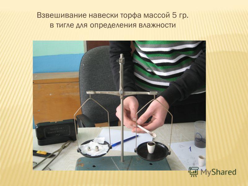 Взвешивание навески торфа массой 5 гр. в тигле для определения влажности