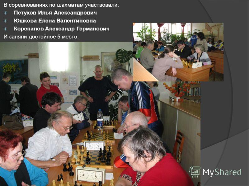 В соревнованиях по шахматам участвовали: Петухов Илья Александрович Юшкова Елена Валентиновна Корепанов Александр Германович И заняли достойное 5 место.