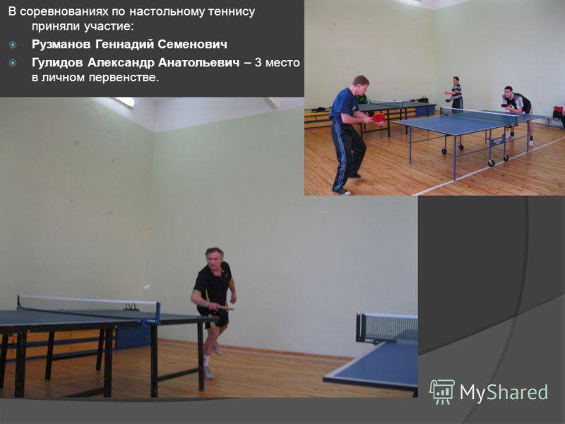 В соревнованиях по настольному теннису приняли участие: Рузманов Геннадий Семенович Гулидов Александр Анатольевич – 3 место в личном первенстве.
