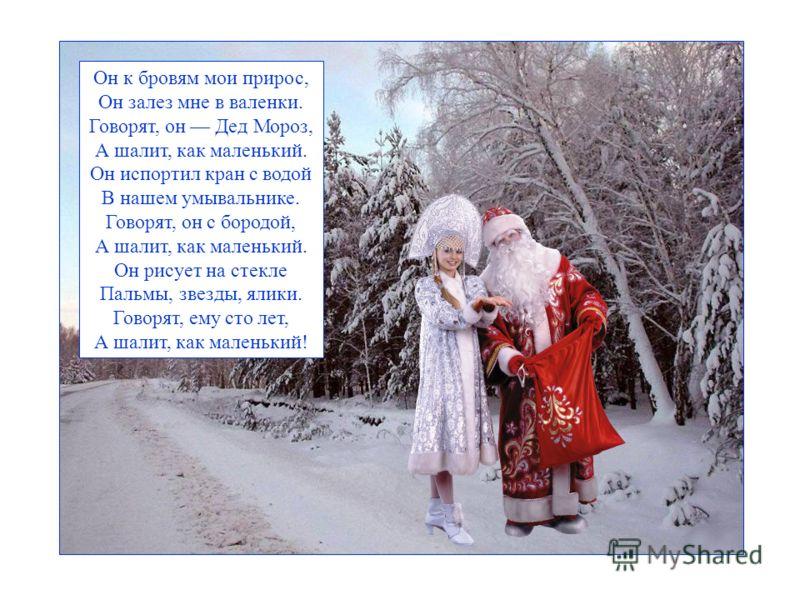 Он к бровям мои прирос, Он залез мне в валенки. Говорят, он Дед Мороз, А шалит, как маленький. Он испортил кран с водой В нашем умывальнике. Говорят, он с бородой, А шалит, как маленький. Он рисует на стекле Пальмы, звезды, ялики. Говорят, ему сто ле