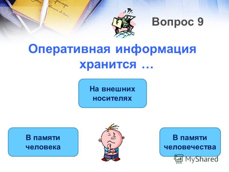 Вопрос 9 Оперативная информация хранится … В памяти человека В памяти человечества На внешних носителях