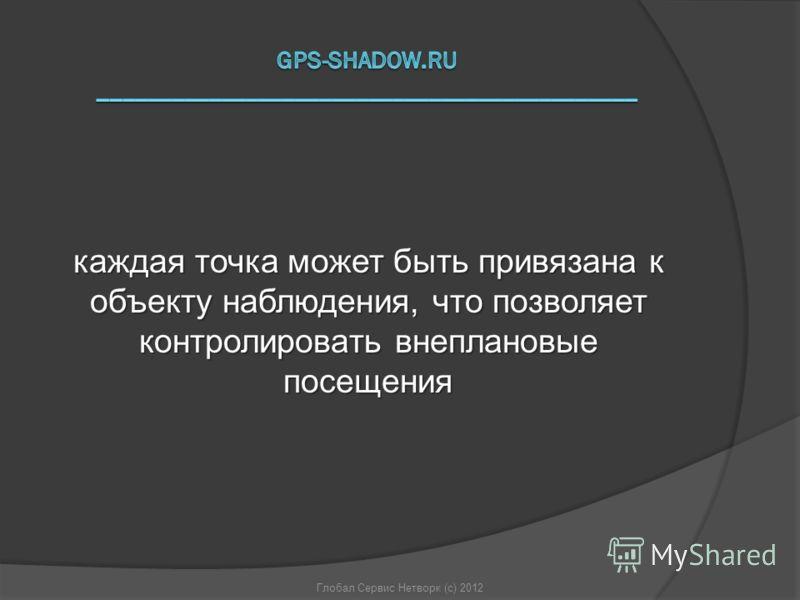 Глобал Сервис Нетворк (с) 2012 каждая точка может быть привязана к объекту наблюдения, что позволяет контролировать внеплановые посещения
