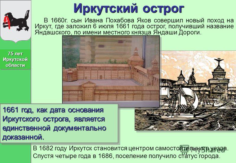 Иркутский острог В 1660г. сын Ивана Похабова Яков совершил новый поход на Иркут, где заложил 6 июля 1661 года острог, получивший название Яндашского, по имени местного князца Яндаши Дороги. 1661 год, как дата основания Иркутского острога, является ед