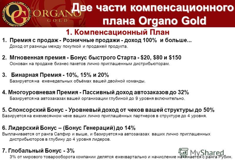 Две части компенсационного плана Organo Gold плана Organo Gold 1. Компенсационный План 1.Премия с продаж - Розничные продажи - доход 100% и больше... Доход от разницы между покупкой и продажей продукта. 2.Мгновенная премия - Бонус быстрого Старта - $