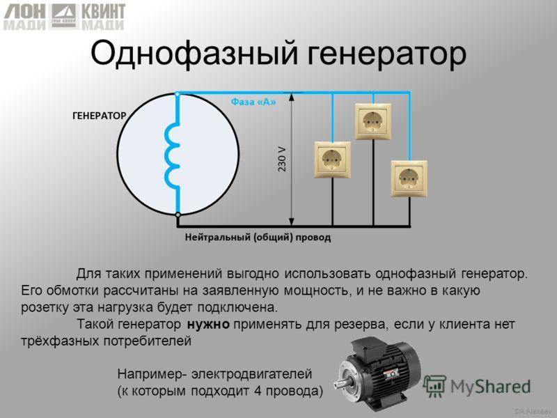 ©A.Alexeev Однофазный генератор Для таких применений выгодно использовать однофазный генератор. Его обмотки рассчитаны на заявленную мощность, и не важно в какую розетку эта нагрузка будет подключена. Такой генератор нужно применять для резерва, если