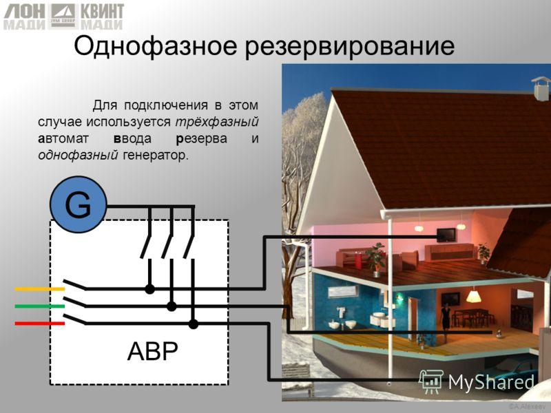 ©A.Alexeev Однофазное резервирование Для подключения в этом случае используется трёхфазный автомат ввода резерва и однофазный генератор. АВР G
