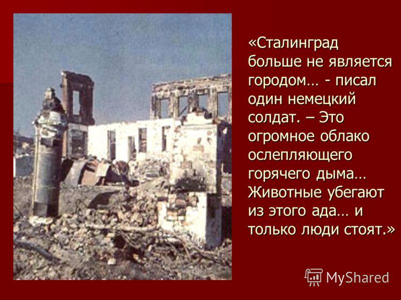 «Сталинград больше не является городом… - писал один немецкий солдат. – Это огромное облако ослепляющего горячего дыма… Животные убегают из этого ада… и только люди стоят.»