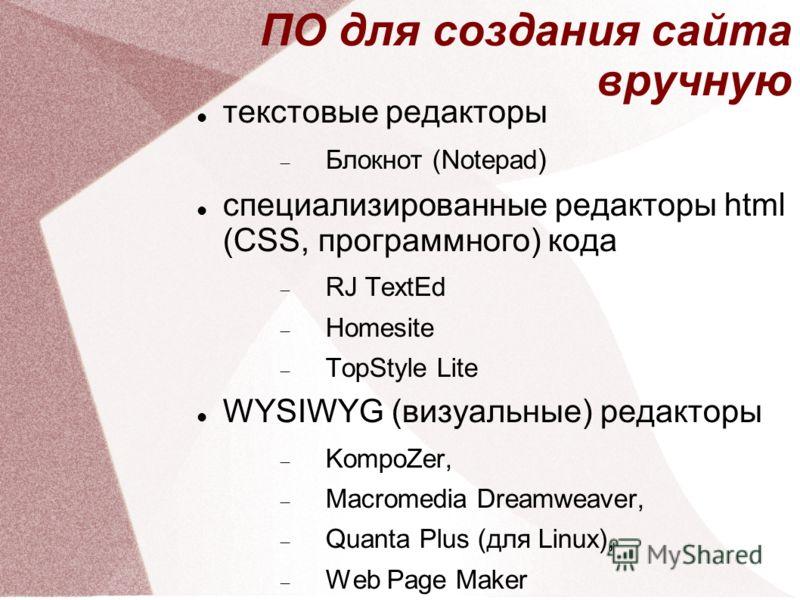 ПО для создания сайта вручную текстовые редакторы Блокнот (Notepad ) специализированные редакторы html (CSS, программного) кода RJ TextEd Homesite TopStyle Lite WYSIWYG (визуальные) редакторы KompoZer, Macromedia Dreamweaver, Quanta Plus (для Linux),