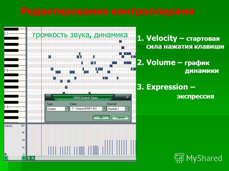 Редактирование контроллерами 1. Velocity – стартовая сила нажатия клавиши 2. Volume – график динамики 3. Expression – экспрессия громкость звука, динамика