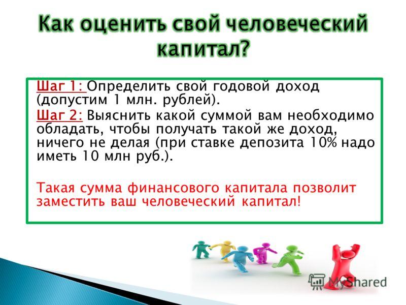 Шаг 1: Определить свой годовой доход (допустим 1 млн. рублей). Шаг 2: Выяснить какой суммой вам необходимо обладать, чтобы получать такой же доход, ничего не делая (при ставке депозита 10% надо иметь 10 млн руб.). Такая сумма финансового капитала поз