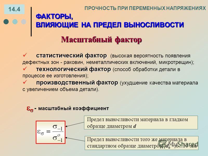 14.4 ПРОЧНОСТЬ ПРИ ПЕРЕМЕННЫХ НАПРЯЖЕНИЯХ Масштабный фактор ФАКТОРЫ, ВЛИЯЮЩИЕ НА ПРЕДЕЛ ВЫНОСЛИВОСТИ статистический фактор статистический фактор (высокая вероятность появления дефектных зон - раковин, неметаллических включений, микротрещин); технолог