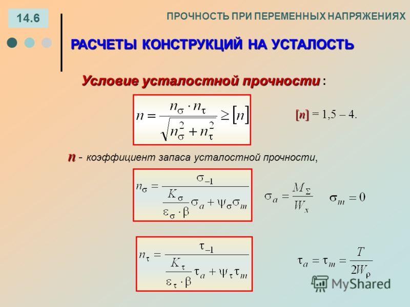 14.6 ПРОЧНОСТЬ ПРИ ПЕРЕМЕННЫХ НАПРЯЖЕНИЯХ РАСЧЕТЫ КОНСТРУКЦИЙ НА УСТАЛОСТЬ Условие усталостной прочности Условие усталостной прочности : n n - коэффициент запаса усталостной прочности, [n] [n] = 1,5 – 4.